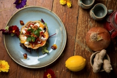 Goats cheese and caramelised onion tartlet