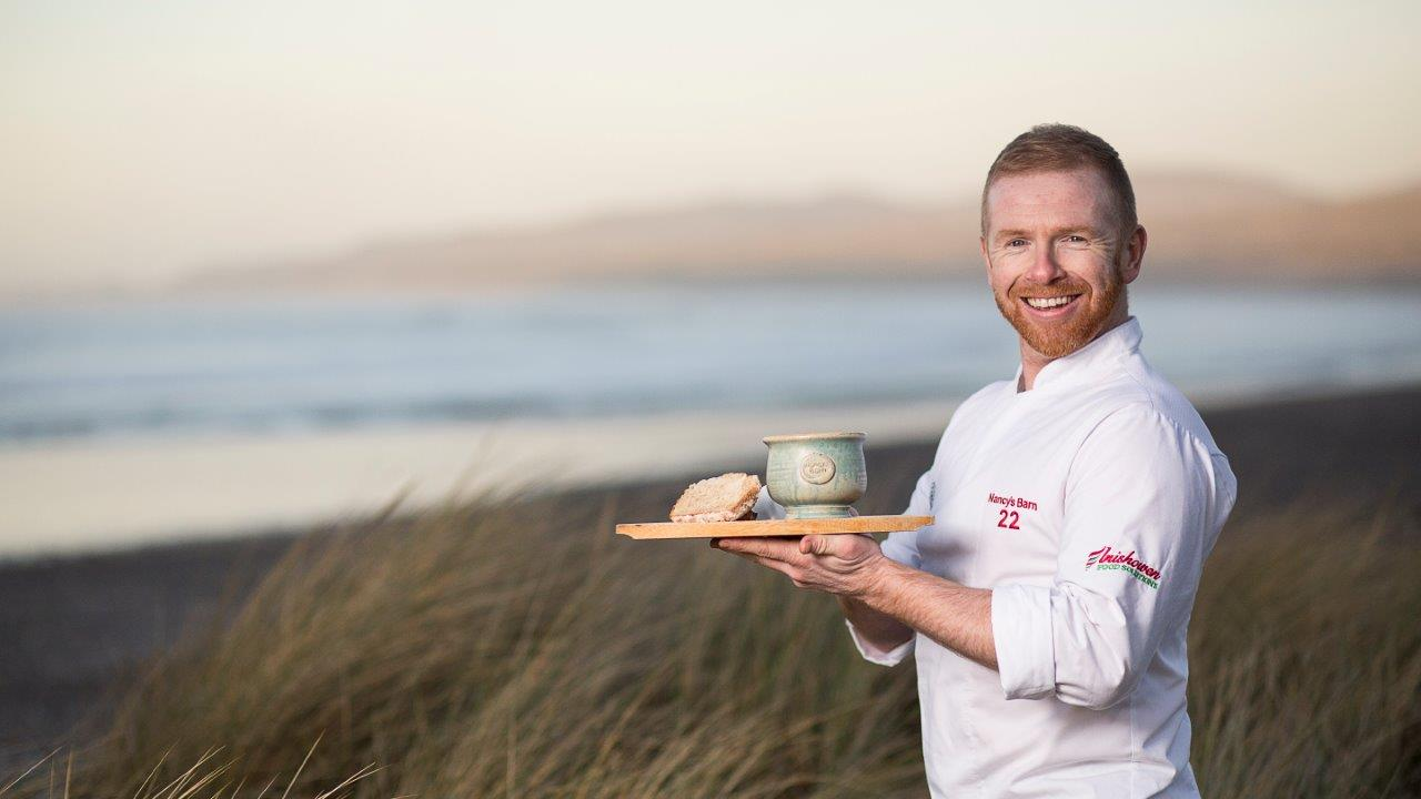 Kieran with his chowder at Ballyliffin Beach
